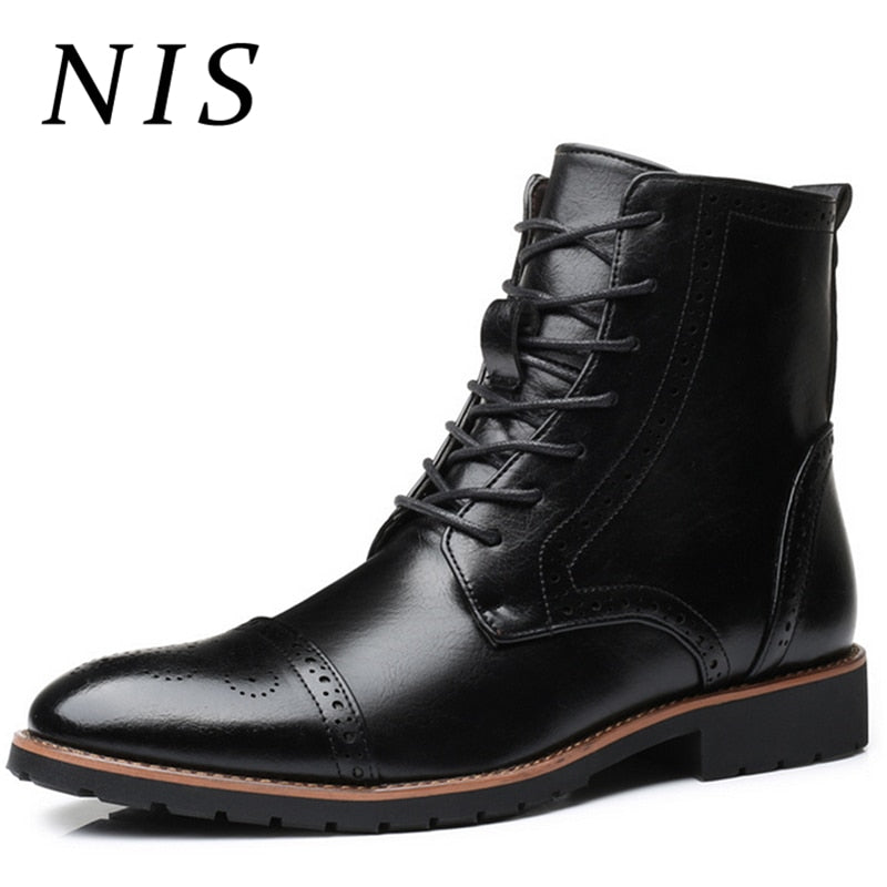 ab3deb5145bd3 NIS Big Size 39-48 Winter Men Boots Retro Brogue Style Oxfords PU Leather  Shoes ...