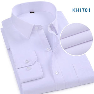 2019 New Arrival Men Business White Solid Shirts Long Sleeve Man Dress Shirts Male Full Casual Shirt Men's Slim Clothing YN10208
