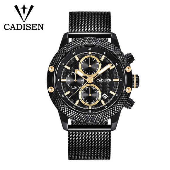 CADISEN C9062 Watch Men Sport Chronograph Leather Strap/Stainless Mesh Band Quartz Movement Watch Waterproof Casual Clock Wristwatch for Male - g-y-mega-store