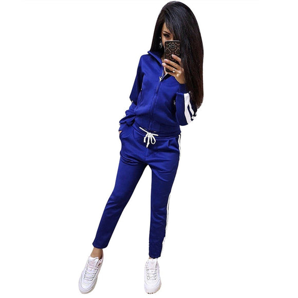 MVGIRLRU Women's Sports Suit striped stitching tracksuits zipper jacket and pants womens two piece sets