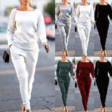 Winter 2Pcs Women Solid O Neck Long Sleeve Tracksuit Sweatshirt Long Pants Sport Casual Lounge Wear Suit Sets