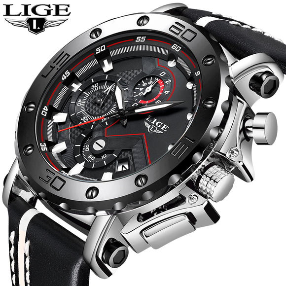 Genuine LIGE To Brand Quartz Male Watches Casual Leather Watches Racing Men Students Game Run Chronograph Sport Watch Glow Hands
