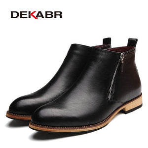 DEKABR 2019 Men Boots Comfortable Black Winter Warm Waterproof Fashion Ankle Boots Casual Men pu Leather Snow Boots Winter Shoes - g-y-mega-store