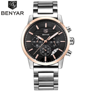 New Fashion Business Watch, Men Stainless Steel 3ATM Water Resistant Quartz Wrist Watch, Watch for Men - g-y-mega-store