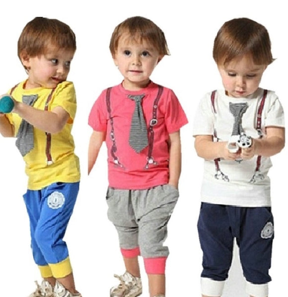 f5f64bf32 Summer Baby Boys Clothing Set Short Sleeve+Pant Kids Clothes Set Vetement  Bebe Garcon 1