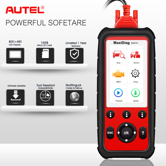 Autel MD808 Pro All System OBD2 Scanner Car Diagnostic Tool  Combination of MaxiCheck Pro and MD802 for Engine,Transmission - g-y-mega-store
