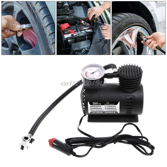 300 PSI 12V Car Portable Air Compressor Electric Tire Inflator Pump w/Gauge R02 Drop ship