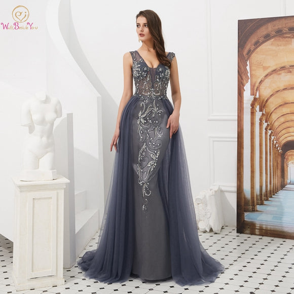 Evening Dresses Long 2018 Wholesale Luxury Sexy Mermaid Gray/Wine Red Train Sleeveless Beading Crystal Evening Gowns Prom Party