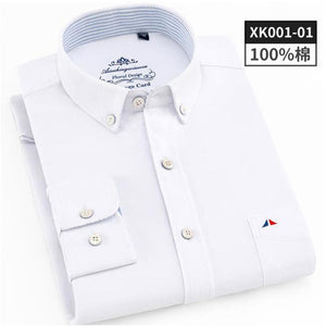 2019 Fashion Mens Shirt Luxury Oxford Long Sleeve Solid Fit Slim Cotton Formal Business Male Social Shirts Elegant Tops Clothing