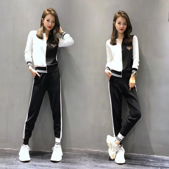 2018 new Autumn knit zipper Cardigan Top and trousers Two-piece suit fashion casual cardigan Sweater pants suit Coat female