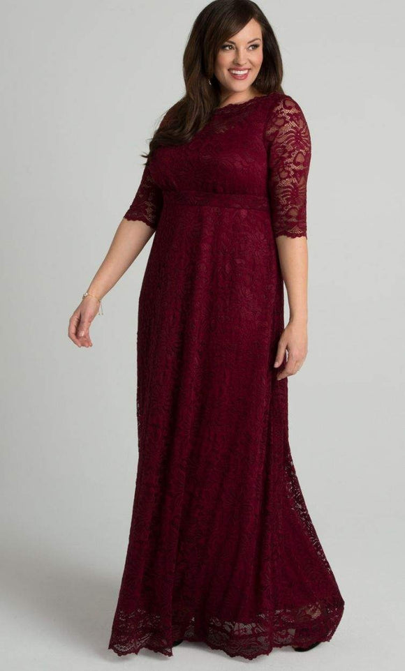 Oversize Guipure Claret Red Evening Dress