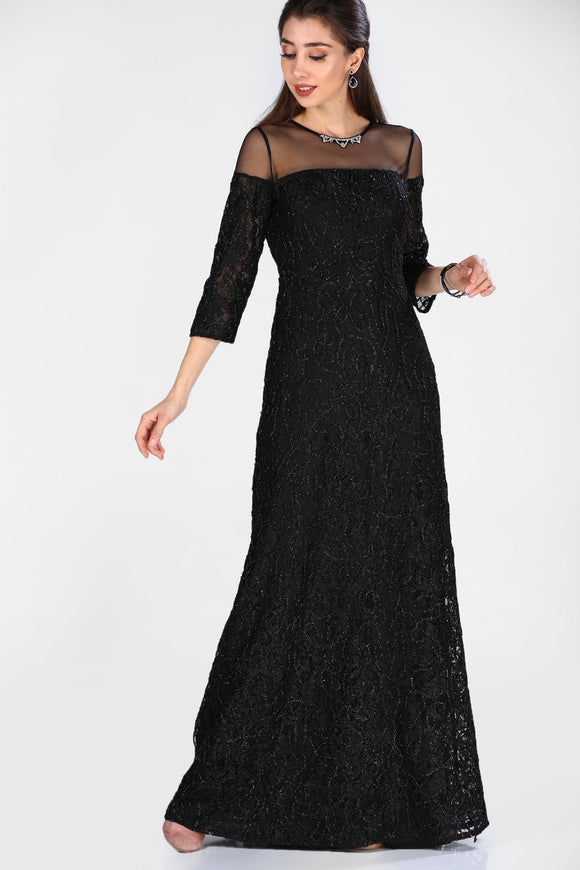 Women's Accessory Neck Black Evening Dress