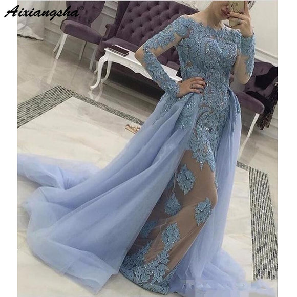 Blue Muslim Evening Dresses 2019 Mermaid Long Sleeves Detachable Tulle Train Lace Beaded Dubai Long Evening Gown Prom Dress