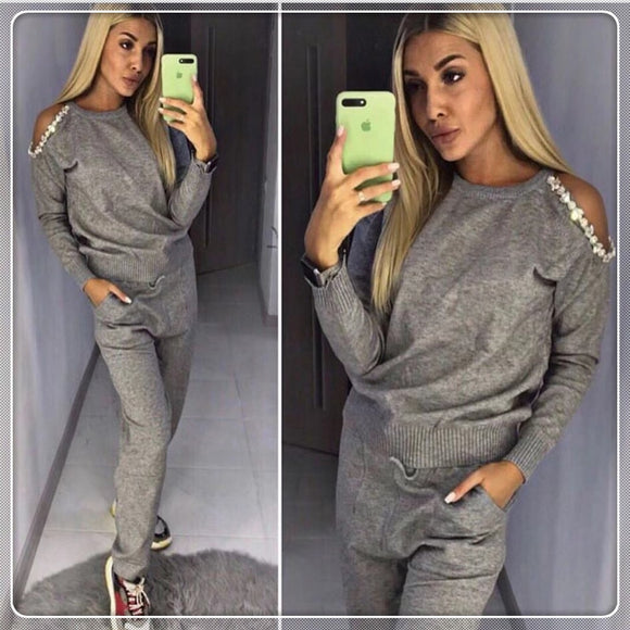 womens sets  Beading O-neck Casual long hollow out sleeve tops and lace-up pants with pockets  sweater Tracksuit Knitting Suit