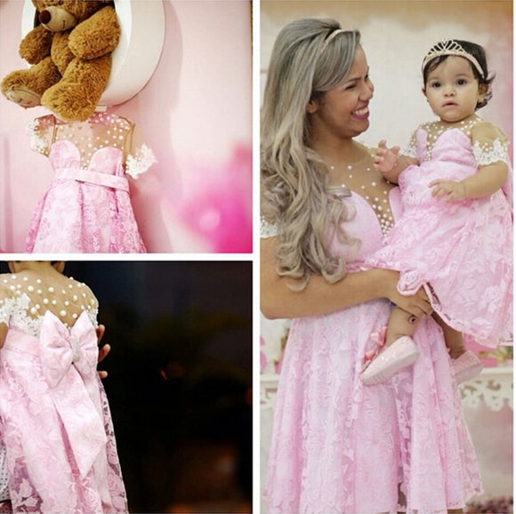 New Jordan Toddler Lace Cummunion Dresses Pink Pageant Baby Party Frocks Special Mother Daughter Dress Gown 2019
