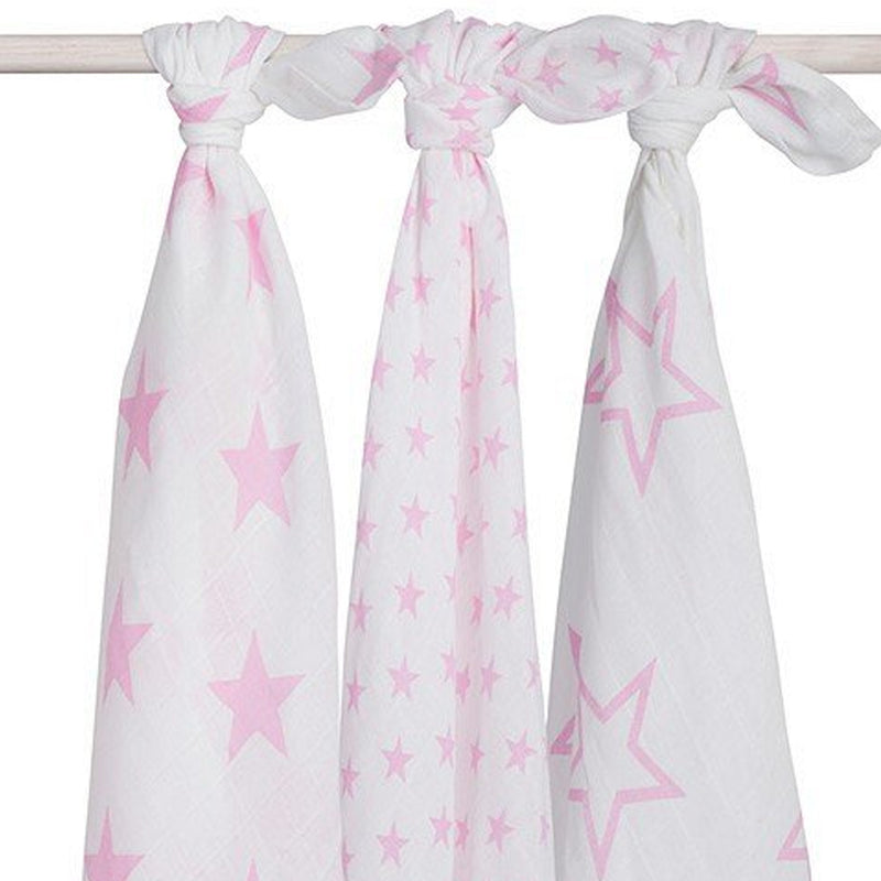 Set 3 scutece hidrofile, Little Star, 115x115 cm, alb roz
