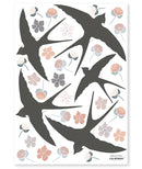 Sticker A3 (29,7x42cm) - FLOWER&SWALLOW