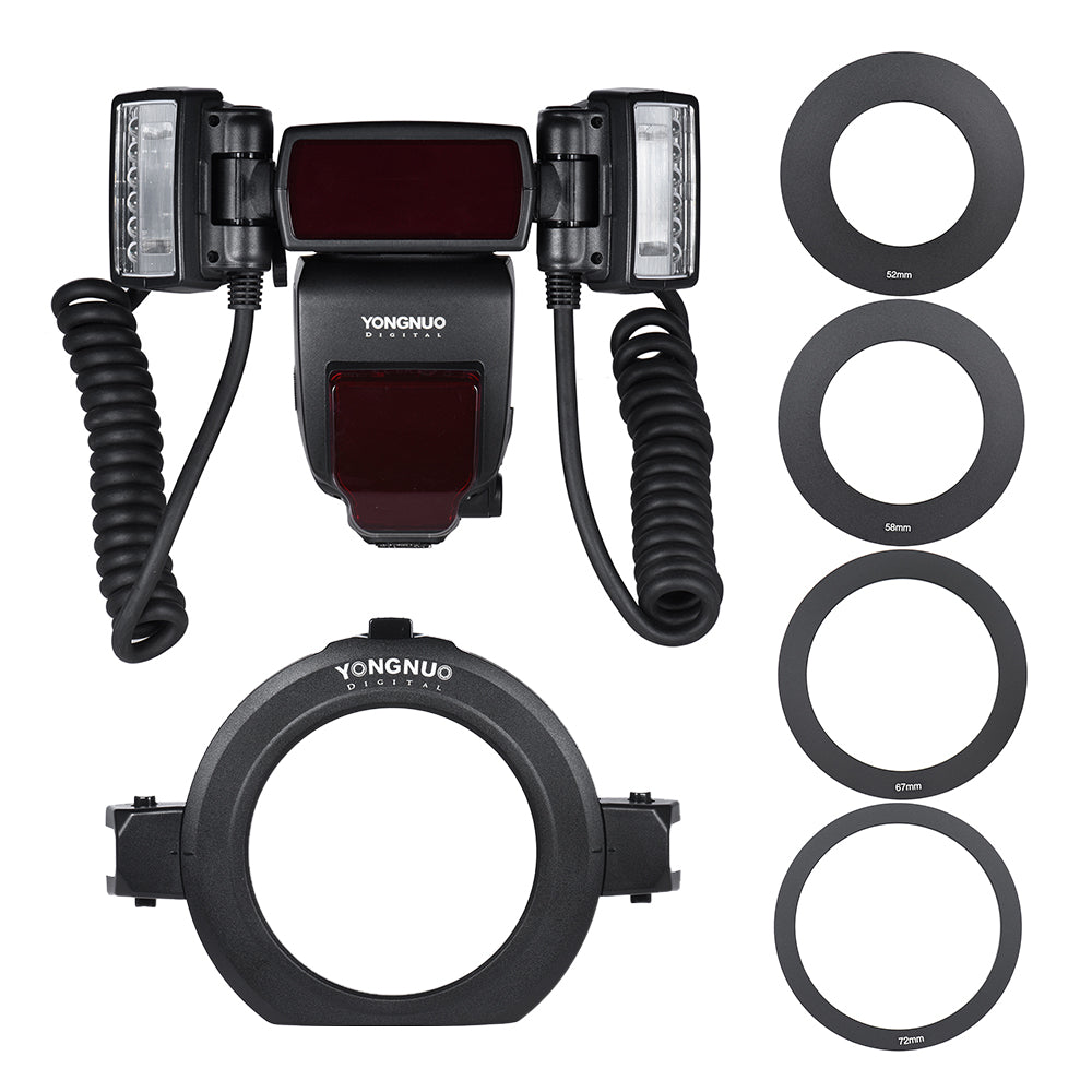 YONGNUO YN24EX E-TTL  Flash Speedlite 5600K with 2pcs Flash Heads and 4pcs Adapter Rings for Canon EOS 1Dx 5D3 6D 7D 70D Cameras