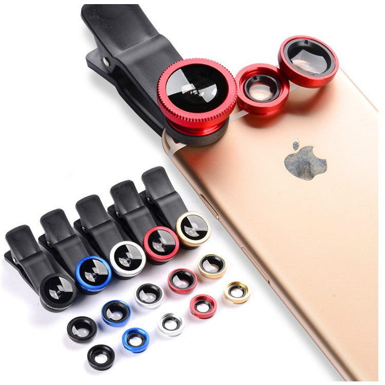 3 In 1 Clip Lenses/  Macro Lens + Fish Eye + Wide Angle/ Iphone, Samsung, Huawei, Xiaomi, Sony