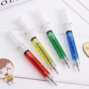 X4 Syringe Gel Pens - Ballpoint Black Ink Liquid,  Medical / Dental Style