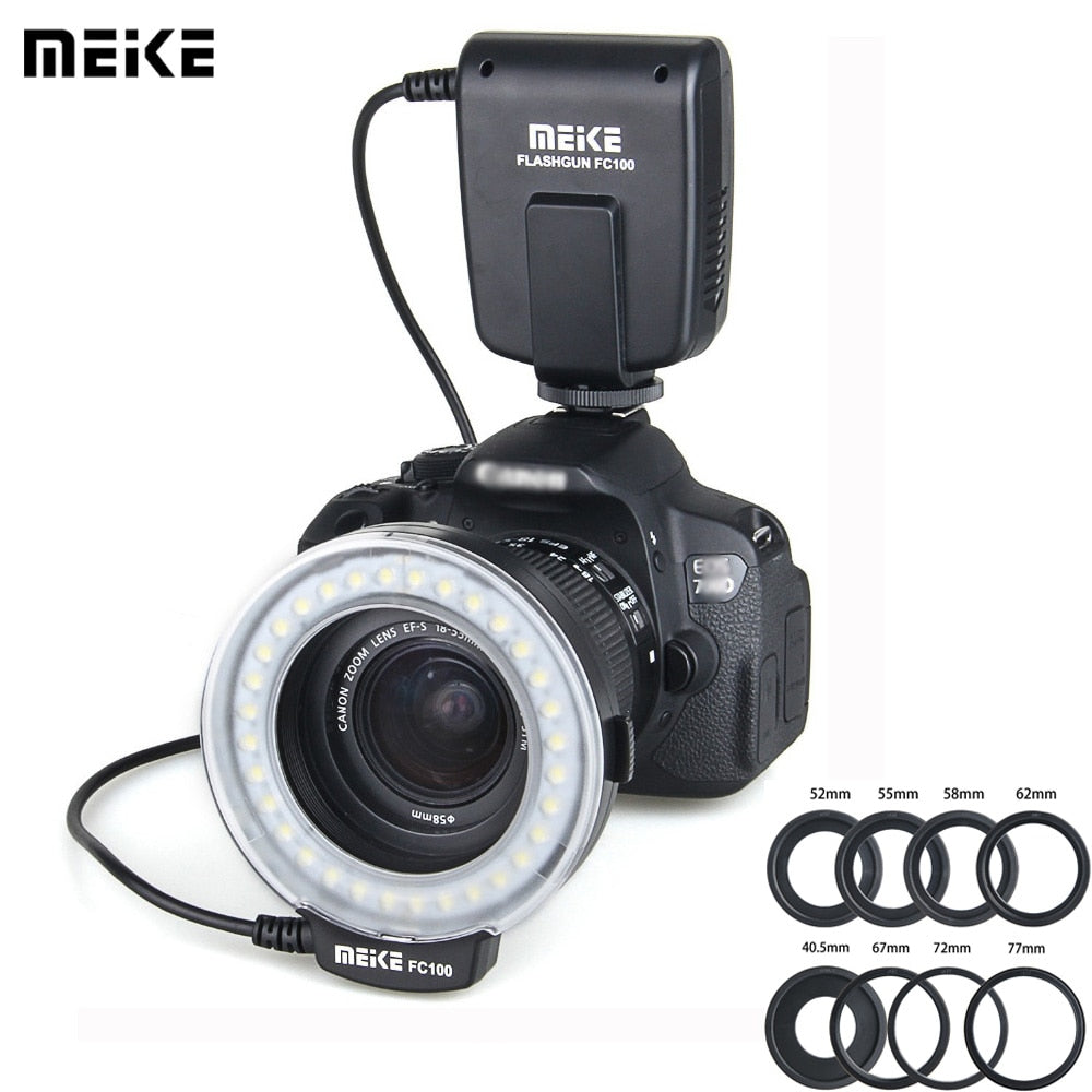 Meike FC 100 Speedlite Macro LED Ring Flash Light Studio Photo For Nikon D200 D3100 Canon EOS 70D 60D T4i T3i 6D DSLR Camara