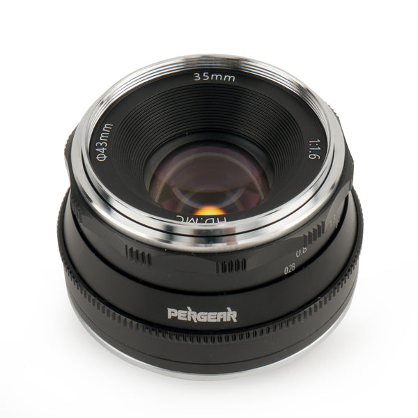 Pergear 35mm F1.6 Manual Focus Prime Fixed Lens for Sony E-Mount, M4/3 Mount, Fuji X-Mount, Nikon Z mount Mirrorless Camera