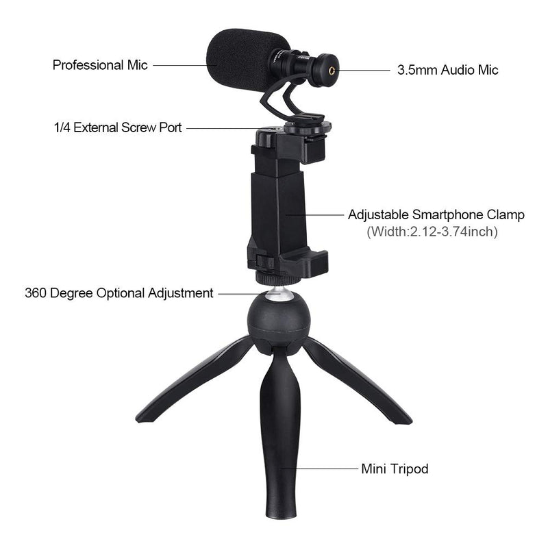 COMICA CVM-VM10-K2 Smartphone Video Rig with Cardioid Directional Shotgun Video Microphone