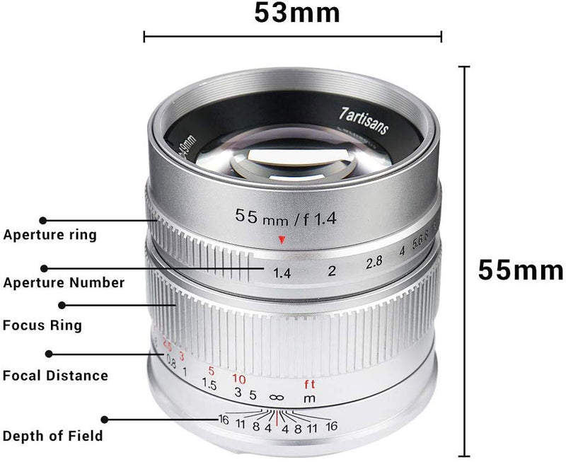 7artisans APS-C 55mm F1.4  for Fuji X Mount Cameras (Silver)