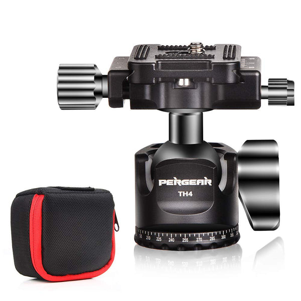 PERGEAR TH4 Ball Head TH3 Tripod Ballhead Upgraded Version, Aluminum Alloy Construction, Weights 190g/6.7oz, 10KG/22lbs Payload, Easy Panoramic Shooting, Easy Switch Between Vertical/Horizontal Mode