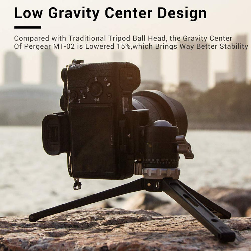 Pergear MT-02 Mini Tripod with 360° Fluid Rotation Tripod Ball Head