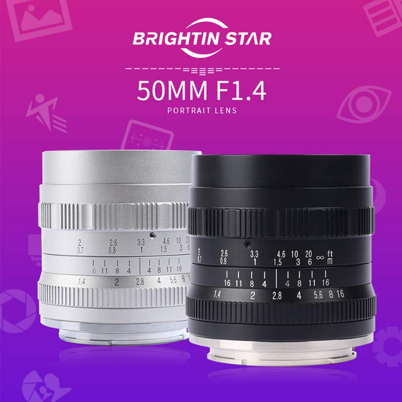 Brightin Star 50mm F1.4 Large Aperture Lens for Sony/Fuji/M4/3 Mount Mirrorless Cameras
