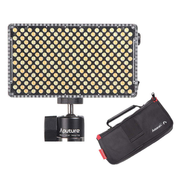 Aputure AL-F7, Aputure H198 Upgrade Ver 256 LED Bi-Color Dimmable Led Video Light, CRI95+ TLCI95+, 3200-9500K, Stepless Brightness, Multiple Power Supply Methods, Lightweight with PERGEAR Cloth