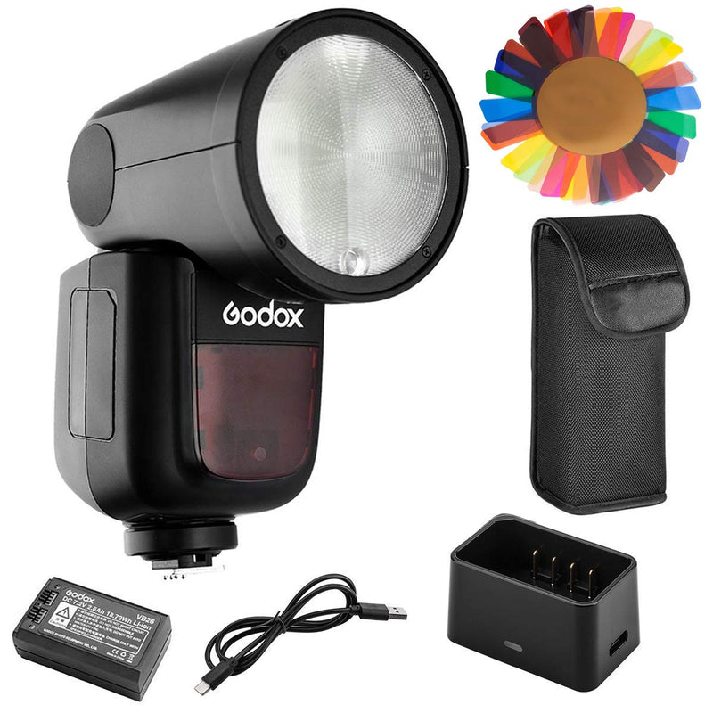 Godox V1 Camera Flash with Pergear Color Filters