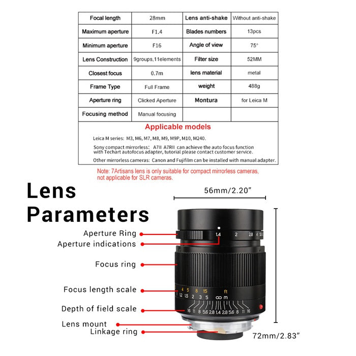 7artisans 28mm F1.4 Lens for Leica M -Mount Series Cameras - Black
