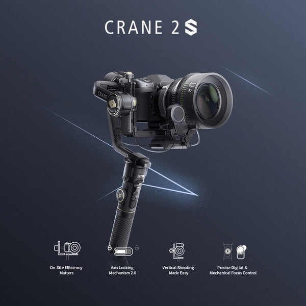 Zhiyun Crane 2S Follow Focus 3-Axis Handheld Gimbal with extra 3*battery
