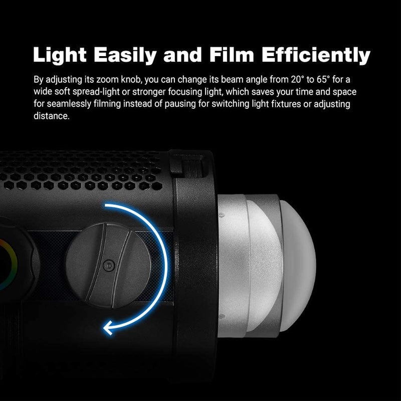 Godox SZ150R, 150W Bi-Color Zoomable RGB LED Video Light, CRI 97 TLCI 96, 2800K~6500K, 0%-100% Brightness, 37 FX Effects,Support APP Control/DMX Control, W/Barndoor Kit --Pre-Order