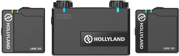Hollyland Lark 150 Clip-On Wireless Microphone System, Omnidirectional Polar Pattern, 2.4G Digital Wireless Transmission, Built-in Mic and Lav Mic for Vlogging Live Streaming Interview(RX+TX+TX)