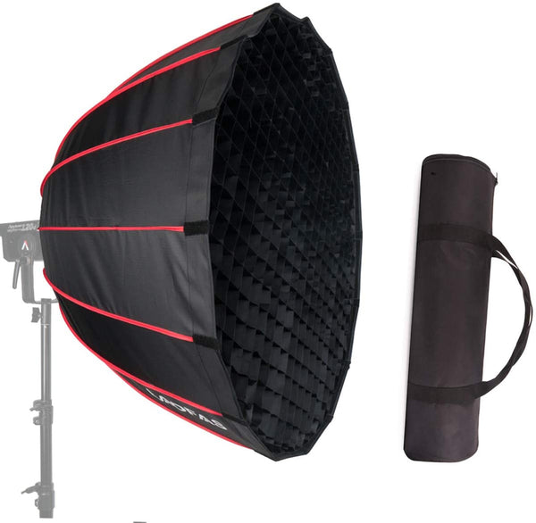 LAOFAS Deep Parabolic Softbox with Bowens Mount, Quick Set-up Umbrella Soft Box  for Godox, Nicefoto, Falconeyes, Aputure(70cm/90cm/120cm)