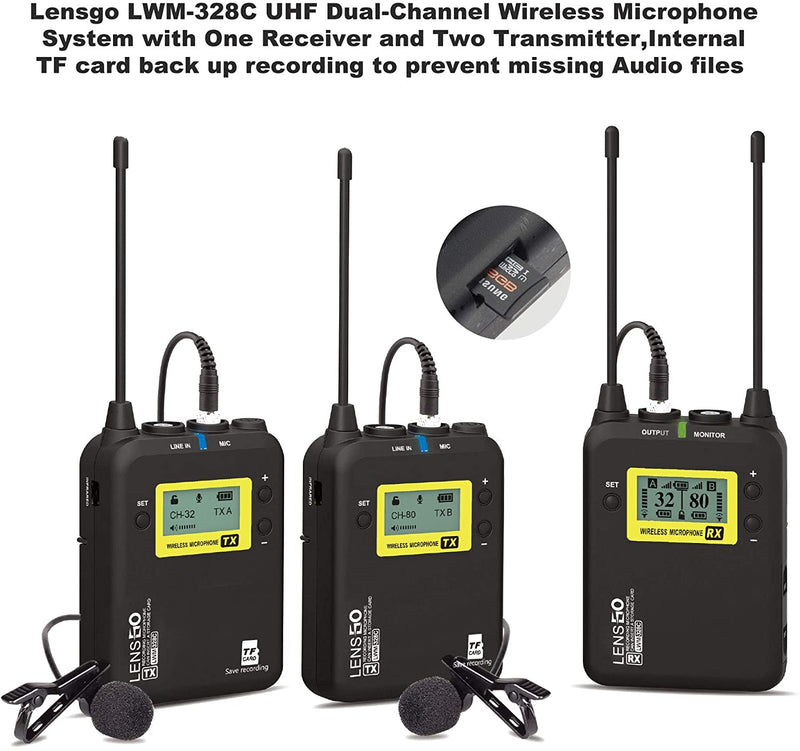 Lensgo LWM-328C UHF 99-Channels Professional Stereo Wireless Microphone System
