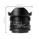 7artisans 7.5mm F2.8 Fisheye Fixed Lens for Olympus Panasonic Micro Four Thirds MFT M4/3 Cameras - Black with Protective Lens Cap, Removable Lens Hood and Carrying Bag