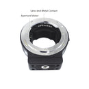 Commlite cm-ENF-E1 Pro Nikon F Mount Lens to Sony E Mount Autofocus Electronic Lens Adapter w/Aperture Control Built-in is VR EXIF Transmitting for Sony A9 A7R2 A7II A6300 A6500 A7R