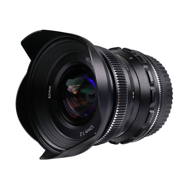 PERGEAR 12mm F2 wide-angle Manual Focus Fixed Lens Compatible with Sony, Fuji, Nikon, M4/3 Cameras