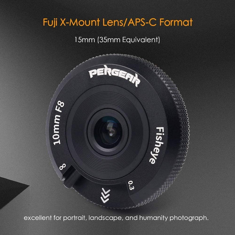 Pergear 10mm F8 Pancake Lens Tiny Fisheye Lens Manual Focus Wide Angle Lens for Fuji