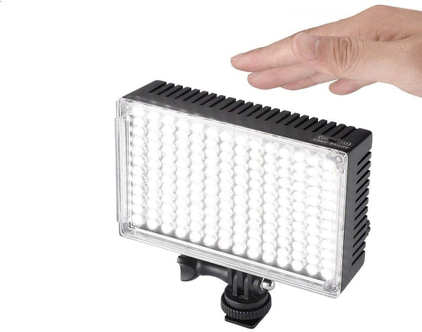 Pergear A168 Motion-Activated Dimmable On Camera Led Video Light Panel CRI90+ Ultra Bright 3920Lux@0.5m with 2200mAh Battery Kit, Battery Indicator and Unique Design for Battery Safe Locking