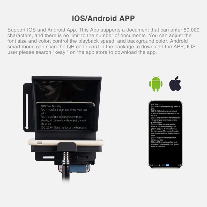 Pergear Mini Portable Adjustable Teleprompter for Smartphone iPhone DSLR Recording