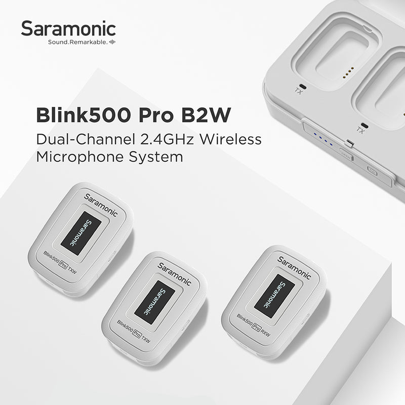 Saramonic Blink 500 Pro B2W White Edition Dual-Channel 2.4GHz Wireless Microphone System with Portable Wireless Charging Case, Mono/Stereo Recording Mode, for Bride Wedding Shooting(TX+TX+RX)(White)