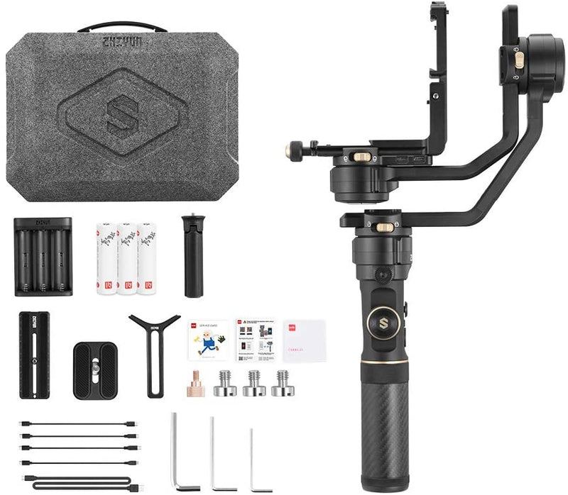 "Zhiyun Crane 2S 3-Axis Handheld Gimbal Stabilizer for DSLR and Mirrorless Cameras Upgraded Focus Control FlexMount System Vertical Shooting 12-Hour Runtime 0.96"" OLED Screen"