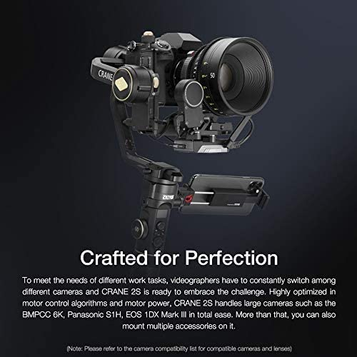 Zhiyun Crane 2S 3-Axis Handheld Gimbal Stabilizer for DSLR and Mirrorless Cameras Upgraded Focus Control Vertical Shooting (Combo Package with Dual Handle Grip and Battery Kit)