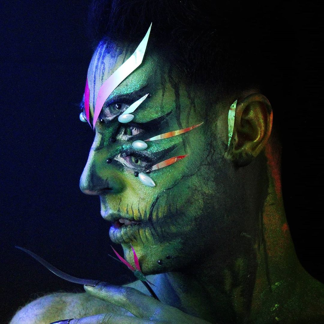 Envy seven deadly sins makeup look face to side