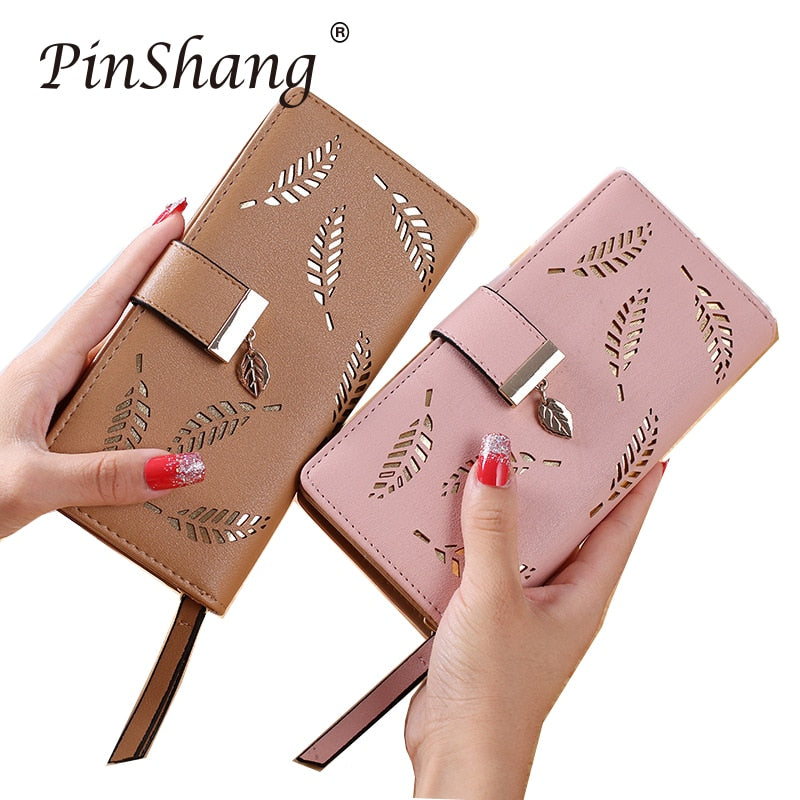 5e1c32f214eb Women Wallet PU Leather Purse Female Long Wallet Gold Hollow Leaves Pouch  Handbag For Women Coin Purse Card Holders Clutch zk30
